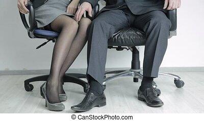 concept, secretary., elle, bureau, patron, abus,...