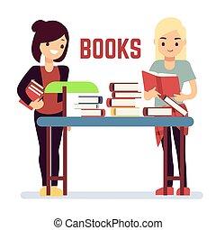concept, self-education, -, boekjes , tiener, girl lezen