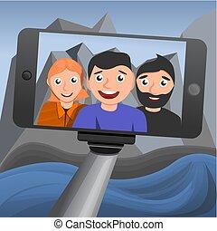 concept, selfie, fond, style, dessin animé