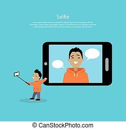 concept, selfie, vecteur, illustration