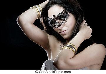 concept, sensualité, Vénitien, masque,  brunette,  sexy