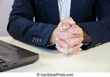 concept, serré, mains affaires