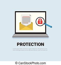 concept, serrure, ordinateur portable, protection données, sécurité, bannière, email