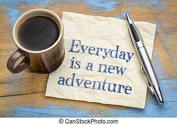 concept, servet, -, avontuur, nieuw, alledaags