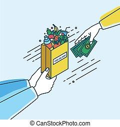 concept, service., argent., papier, style., légumes, tenue, ligne, coloré, nourriture, illustration, livraison, mains, lineart, achat, épicerie, ou, sac, vecteur, produits, fruits, dépassement, ordre