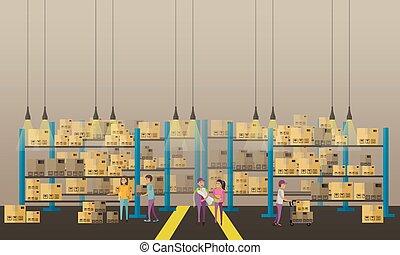 concept, service, banner., illustration, livraison, vecteur, logistique, interior., entrepôt