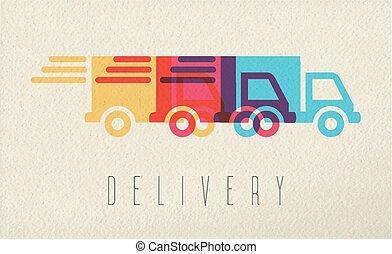 concept, service, couleur, livraison, conception, camion, icône