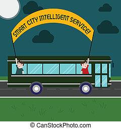 concept, service., texte, moderne, dehors, trip., ville, deux, écriture, tenue, technologique, intelligent, intelligent, business, autobus, connecté, crosse, villes, bannière, jour, gosses école, mot, intérieur