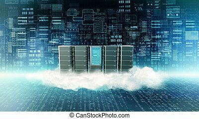 concept, servir, nuage, internet