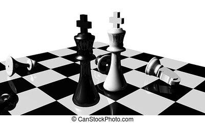concept, set., animation, stand, fermé., rivalité, échecs