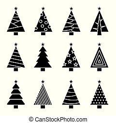 concept, set., arbre, collection, vecteur, noël, icône
