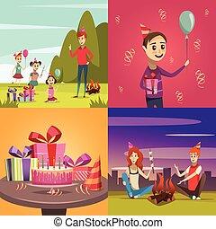 concept, set, kinderen, jarig, iconen