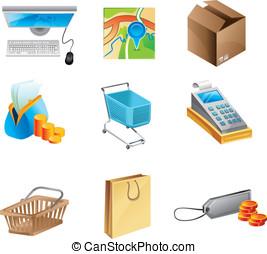 concept, set, shoppen , -, vector, online, pictogram