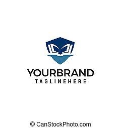 concept, shiled, vector, ontwerp, mal, logo, opleiding