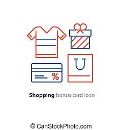 concept, shoppen , bonus, aanbod, trouw, programma, kaart, bijzondere