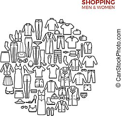 concept, shoppen , iconen, vector, dune lijn, mode, kleren