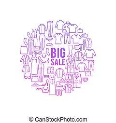 concept, shoppen , kleurrijke, groot, verkoop, icons., spandoek, vector, ontwerp, dune lijn, mode, kleren