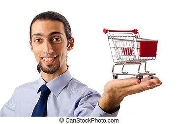 concept, shoppen , zakelijk, -, kar, holdingshanden