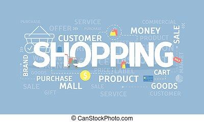 concept., shopping, illustrazione