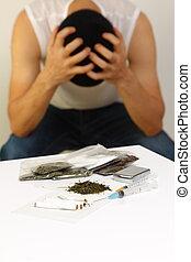 drug addiction - concept shot of a man of drug addiction