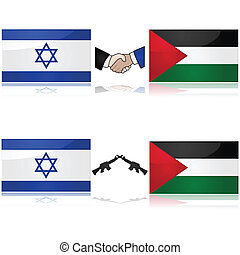 Concept showing the flags of Israel and Palestine divided by weapons or a handshake, signifying war and peace