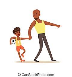 concept, sien, hurlement, père, fils, négatif, illustration, vecteur, émotions