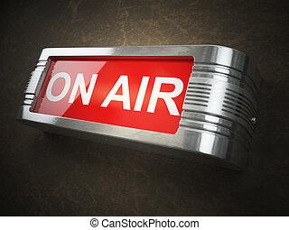 concept., signboard., ar, registro, glowing, transmissão, aviso, ou, vermelho