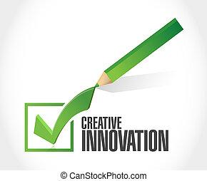 concept, signe, marque, innovation, créatif, chèque