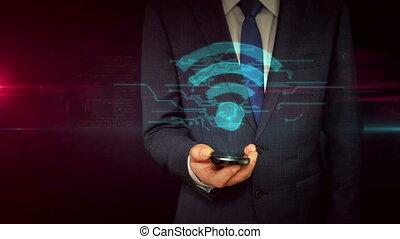 concept, signe, smartphone, homme affaires, wi-fi,...