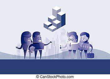 concept,  silhouette,  Business, gens,  communication,  discussion, idée, groupe, réunion, parler