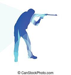 concept, silhouette, coloré, chasse, tir, illustration, fond, sport, homme