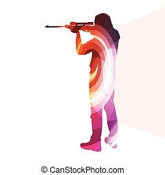 concept, silhouette, coloré, chasse, tir, illustration, vecteur, fond, sport, homme