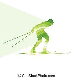 concept, silhouette, coloré, illustration, fond, ski, homme