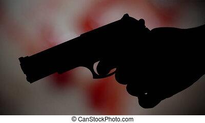 concept, silhouette, contre, sanglant, pistolet, fond, crime