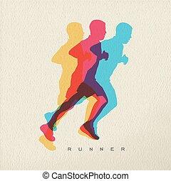 concept, silhouette, coureur, conception, sport, homme