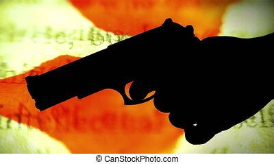 concept, silhouette, fusil, contre, crime, fond, sanglant