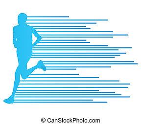 concept, silhouette, gabarit, coureur, affiche, raies, vecteur, fond, fait, homme
