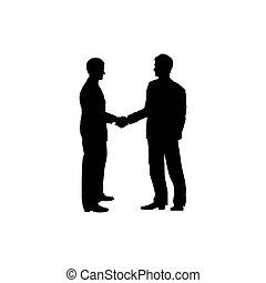 concept, silhouette, handshake., zakenman, overeenkomst, twee, colaboration, zakenlieden, symbool.
