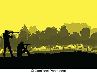 concept, silhouette, hertje, jager, informatietechnologie, ...