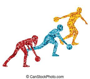 concept, silhouette, joueur, vecteur, fond, bowling