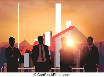 concept., silhouette, persone affari