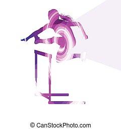 concept, silhouette, vrouwlijk, kleurrijke, illustratie, open plek, atleet, achtergrond, hardloop, hindernis