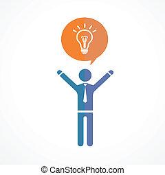 concept, silhouettes., symbool, idee, vector, menselijk