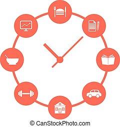 concept, simple, montres, routine quotidienne, rouges
