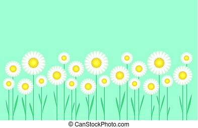 concept simple vector illustration of daisy on blue sky