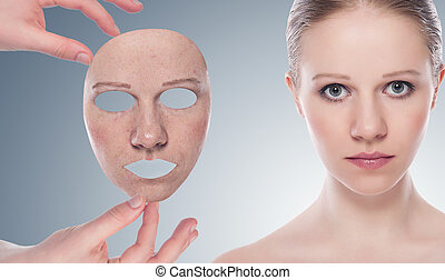 concept, skincare, met, masker, ., huid, van, beauty, jonge vrouw , vóór en na, de, procedure, op, een, grijze achtergrond