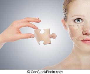 concept, skincare, met, puzzles., huid, van, beauty, jonge vrouw , vóór en na, de, procedure, op, een, grijze achtergrond