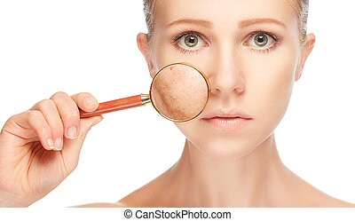 concept skincare. Skin of woman with magnifier before and after