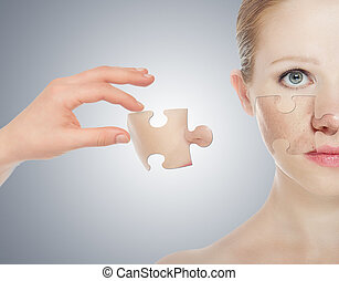 concept skincare with puzzles. Skin of beauty young woman before and after the procedure on a gray background