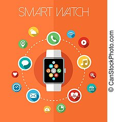 Concept smart watch design with app icons